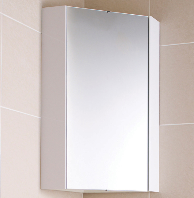 ultra high gloss white corner mirror cabinet 459mm lq059