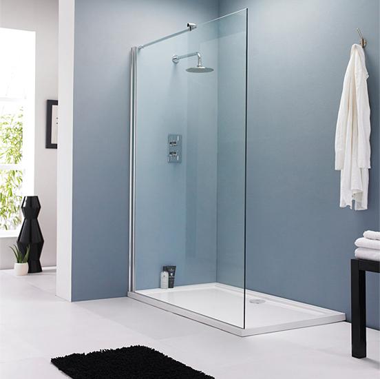Lauren wetroom shower screen 800mm wide x 1850mm high for 1700 high shower door