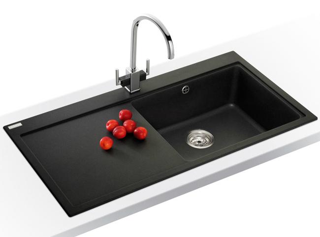 Franke Impact Sink : Franke Mythos MTG 611 Fragranite Onyx 1.0 Bowl Inset Kitchen Sink