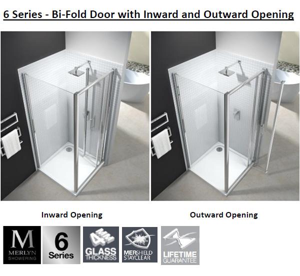 Merlyn 6 Series 4mm Clear Glass Bi Fold Shower Door 900mm